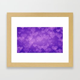 Soft Purple Hearts On Graduated Background. Valentines Day Concept Framed Art Print