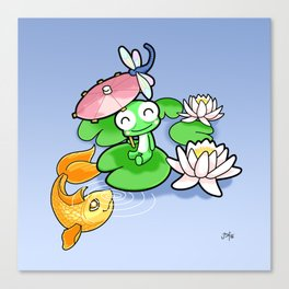 The Frog, The Fish and The Water Lilies Canvas Print