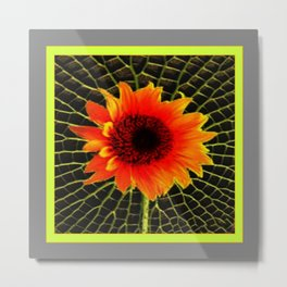 Organic Red Sunflower Grey-Lime Patterned Art Metal Print