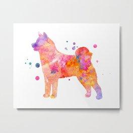 Akita Inu Dog Watercolor Painting - Orange Metal Print