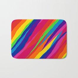 Wonky Rainbow Stripes Bath Mat