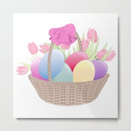 Easter Egg Basket Metal Print