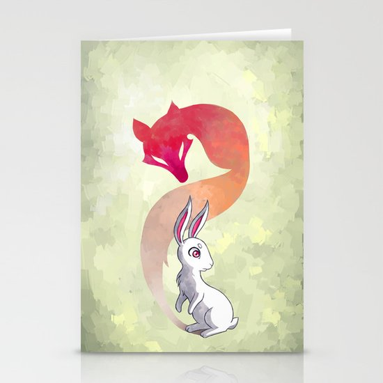 Rabbit and a Fox Stationery Cards