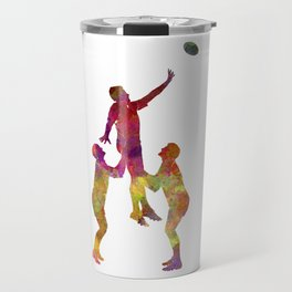 Rugby men players 01 in watercolor Travel Mug