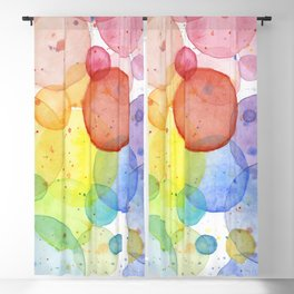 Watercolor Abstract Rainbow Circles and Splatters Blackout Curtain
