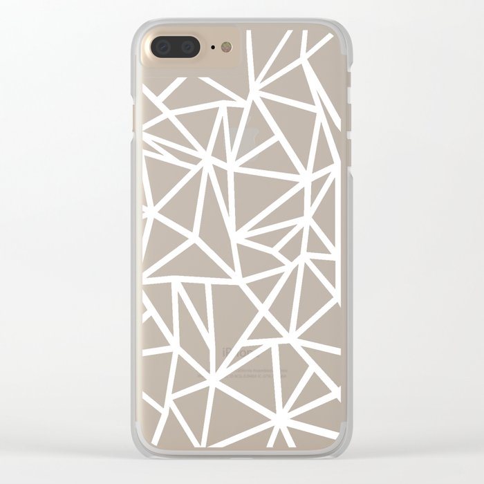 Abstract Outline Thick White on Black Clear iPhone Case