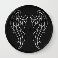 angel wings Wall Clocks featuring Angel Wings by Pink Berry Patterns