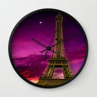 eiffel tower Wall Clocks featuring Eiffel Tower  by Elena Indolfi