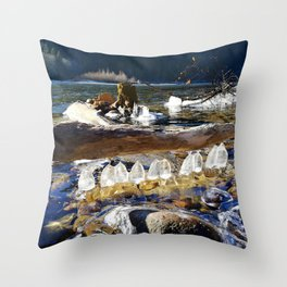 Natural ice sculptures of Squamish River Throw Pillow
