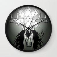 guardians Wall Clocks featuring Guardians by Tessa Storm