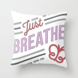 Just Breathe Cystic Fibrosis Warrior product CF Awareness  print Throw Pillow