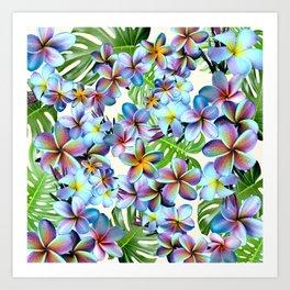 Rainbow Plumeria Pattern Art Print