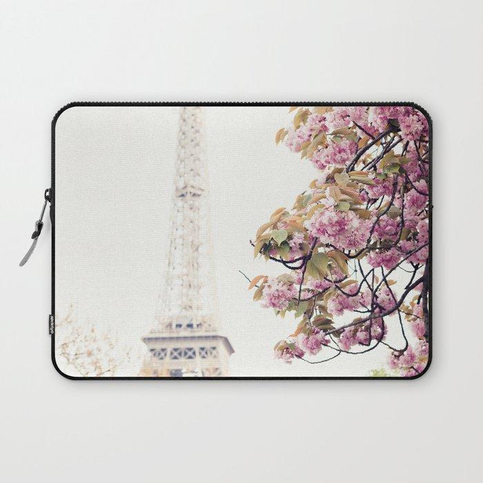 Cherry blossoms in Paris, Eiffel Towerr Laptop Sleeve