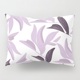 Abstract modern pastel lavender white leaves floral Pillow Sham
