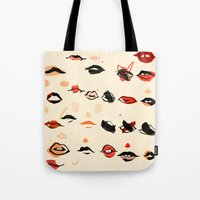 lips Tote Bags featuring Lips by Visualcrafter
