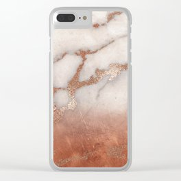 Shiny Copper Metal Foil Gold Ombre Bohemian Marble Clear iPhone Case