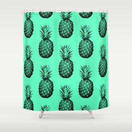 Pineapple! Black on mint green Shower Curtain