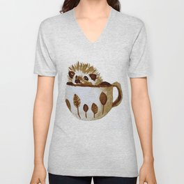 Hedgehog in a Cup Painted with Coffee Unisex V-Neck