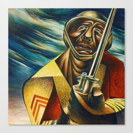 African-American 1944 Classical Masterpiece 'Black Soldier' by Charles White Canvas Print