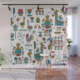 Swedish Folk Art Goose Fable Wall Mural
