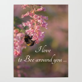 Nature bee on pink flowers with a beautiful quote Poster