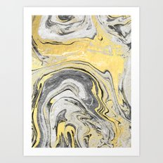 Reiko - gold grey black and white minimal marble abstract ink japanese modern monoprint art  Art Print