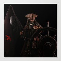 jack sparrow Canvas Prints featuring Jack Sparrow by if0nly