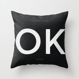 OK Corral (White on Black) Throw Pillow