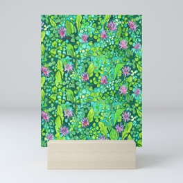Pink Clover Flowers on Green Field, Floral Pattern Mini Art Print