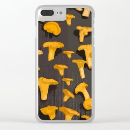 Chantterelles On A Dark Grey Background - Autumn Harvest - #Society6 #buyart Clear iPhone Case