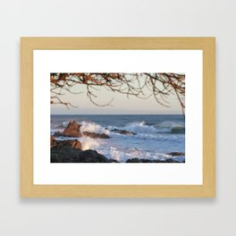 NEW ZEALAND SURF WAVES SUNRISE Framed Art Print