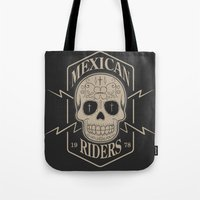 mexican Tote Bags featuring mexican riders by Taranta Babu