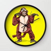 onesie Wall Clocks featuring Monkey Onesie by Alex Terry