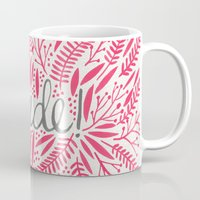 french Mugs featuring Pardon My French – Pink by Cat Coquillette