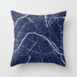Paris France Minimal Street Map - Navy Blue and White Reverse Throw Pillow