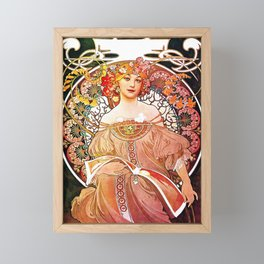 Alphonse Mucha Daydream Floral Vintage Art Nouveau Framed Mini Art Print