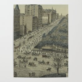 Vintage Pictorial Map of Central Park, 5th Avenue & 59th Street (1886) Poster