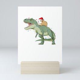 Santa Claus T Rex and Guinea Pig  Mini Art Print