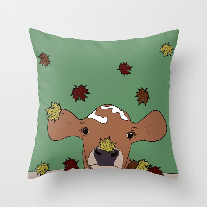Bessie the Calf and Fall Leaves Throw Pillow