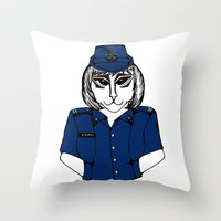 police Throw Pillows featuring Police Kitty by Sofy Rahman