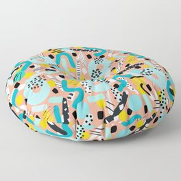 CIRCLES IN MOTION - peach/ yellow/ mint Floor Pillow
