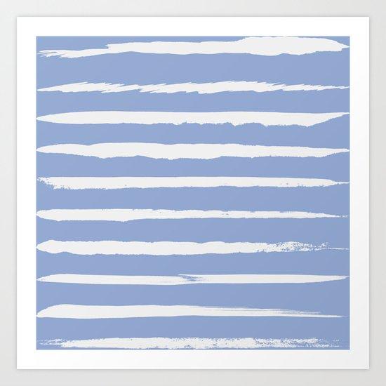 Irregular Hand Painted Stripes Light Blue Art Print