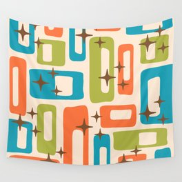 Retro Mid Century Modern Abstract Pattern 921 Orange Chartreuse Turquoise Wall Tapestry