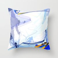 skiing Throw Pillows featuring Downhill Skiing by Robin Curtiss