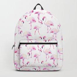 Tropical elegant watercolor pink flamingo bird Backpack
