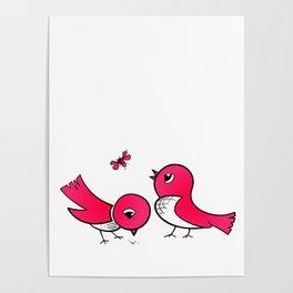 Cute little birds Poster