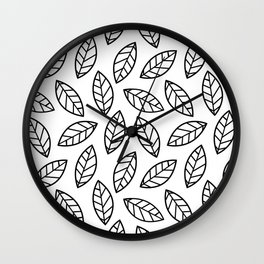 Leaves - white Wall Clock