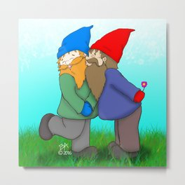 Gnomes In Love Metal Print