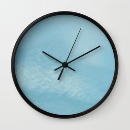 Teal Sky with White Clouds Wall Clock