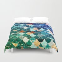 tiffany Duvet Covers featuring REALLY MERMAID TIFFANY by Monika Strigel